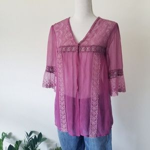 Free People Sheer Snap Front Silk Boho Lace Blouse